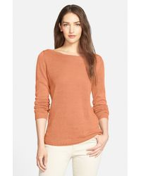 Eileen Fisher | Orange Organic Linen Bateau Neck Knit Top | Lyst