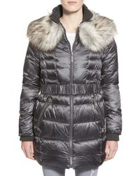 Betsey Johnson | Black Faux Fur Collar Belted Quilted Coat | Lyst