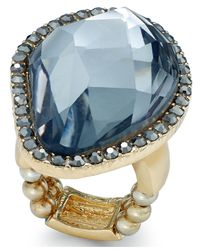 INC International Concepts | Blue Gold-tone Faceted Stone Stretch Ring | Lyst
