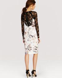 Karen Millen - White Dress Floral Print Signature Stretch - Lyst
