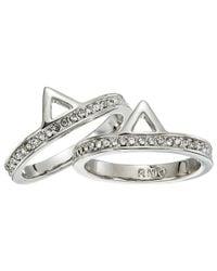 Rebecca Minkoff - Metallic Two Piece Stack Triangle Ring - Lyst