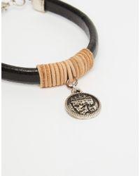 ASOS - Rope And Coin Bracelet In Black for Men - Lyst