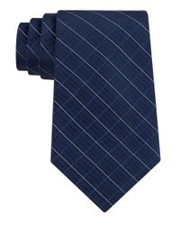 Calvin Klein | Blue Classic Fit Etched Windowpane Plaid Silk Tie for Men | Lyst
