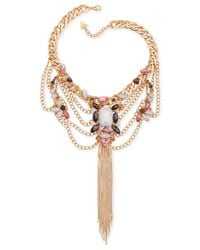 Guess | Metallic Gold-tone Epoxy Stone And Chain Fringe Frontal Necklace | Lyst