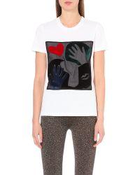 Sandro | White Flocked-motif Cotton-jersey T-shirt | Lyst