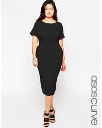 ASOS - Black Curve Midi Wiggle Dress In Texture - Lyst