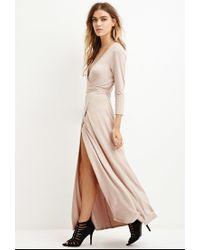 Forever 21 | Natural Maxi Wrap-waist Dress | Lyst