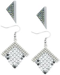Guess - Metallic Two-Tone Rainbow Crystal Triangle Button And Mesh Diamond Drop Earring Set - Lyst