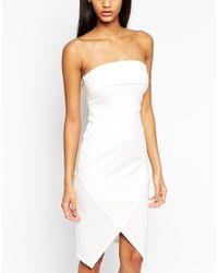 ASOS | Black Fold Bandeau Asymmetric Dress | Lyst