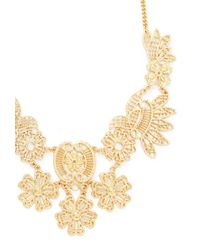 Forever 21 - Metallic Etched Flower Statement Necklace - Lyst