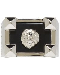 Versus | Metallic Silver And Black Lion Ring for Men | Lyst