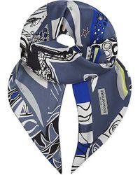 Emilio Pucci | Blue Archer Print Silk Scarf | Lyst