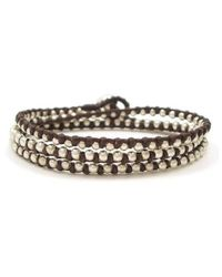 Aeravida | Metallic Triple Wrap Mini Silver Beads Single Strand Brown Cotton Rope Bracelet | Lyst