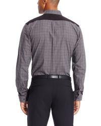 HUGO - Gray 'enico' | Slim Fit, Cotton Contrast Button Down Shirt for Men - Lyst