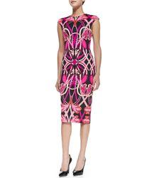 Ted Baker - Black Safiya Cap-sleeve Printed Midi Sheath Dress - Lyst