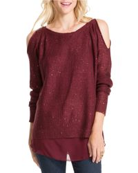 Jessica Simpson | Red Tearose Open-shoulder Metallic Sweater | Lyst