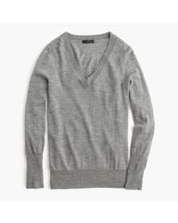 J.Crew | Gray Merino Wool V-neck Sweater | Lyst