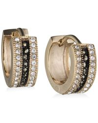 Judith Jack | Metallic Marcasite And Crystal Huggie Hoop Earrings | Lyst