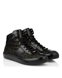 Jimmy Choo | Belgravia Black And Gold Net Flocked Glitter High Top Trainers for Men | Lyst