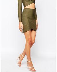 Missguided Bandgae Wrap Over Mini Skirt in Green | Lyst