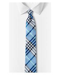 Express - Blue Narrow Plaid Silk Tie - Gray for Men - Lyst