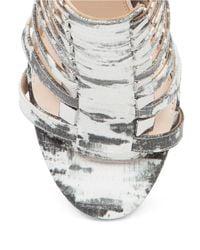 Jessica Simpson | Gray Riahn Leather Cage Heels | Lyst