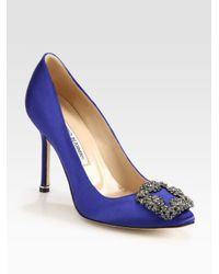 Manolo Blahnik | Blue Hangisi 105 Satin Pumps | Lyst