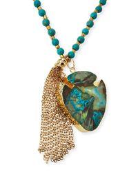 Panacea - Blue Arrowhead Tassel Pendant Necklace - Lyst