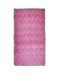 Jigsaw - Pink Printed Pom Pom Scarf - Lyst