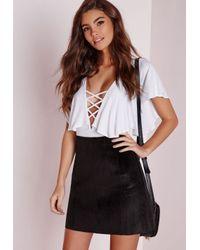 Missguided - Faux Pony Skin Mini Skirt Black - Lyst