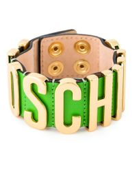 Moschino - Green Logo Plaque Cuff - Lyst