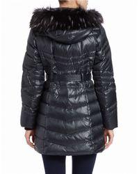 Kensie - Green Faux Fur-trimmed Puffer Coat - Lyst