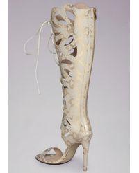 Bebe - Natural Jocelyn Lace Up Sandals - Lyst