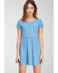 Forever 21 - Blue Heathered Babydoll Dress - Lyst