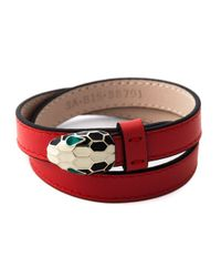 BVLGARI | Red Double Wrap Snake Bracelet | Lyst