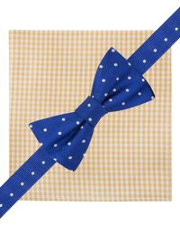 Tommy Hilfiger - Yellow Dot Pre-Tied Bow Tie & Gingham Pocket Square Set for Men - Lyst