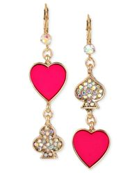 Betsey Johnson - Gold-tone Pink And Pavé Card Suit Double Drop Mismatch Earrings - Lyst