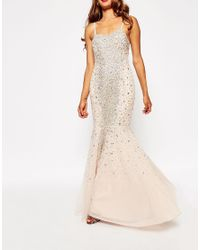 ASOS | Natural Red Carpet Embellished Bandeau Crystal Fishtail Maxi | Lyst