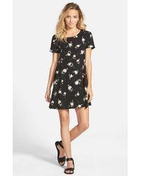 Lush Black Print Short Sleeve Swing Dress