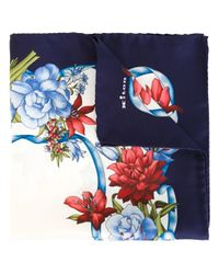 Kiton - Blue Floral Print Pocket Scarf for Men - Lyst