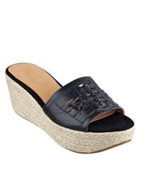 Nine West - Black Raptor Leather Espadrille Wedge Sandals - Lyst
