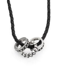 King Baby Studio   Black Sterling Silver Rings & Braided Leather Necklace   Lyst