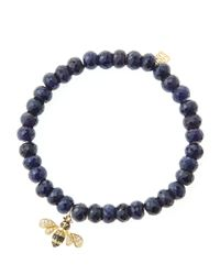 Sydney Evan | Metallic 6Mm Faceted Sapphire Beaded Bracelet With 14K Gold/Diamond Bee Charm (Made To Order) | Lyst
