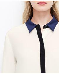 Ann Taylor - Black Petite Colorblock Silk Blouse - Lyst