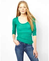 American Vintage | Green Round Neck T-Shirt With Long Sleeves | Lyst