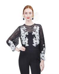Oscar de la Renta - Multicolor Long Sleeve Floral Embroidered Blouse - Lyst
