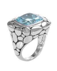 John Hardy | Metallic Silver Batu Kali Blue Topaz Large Square Ring | Lyst