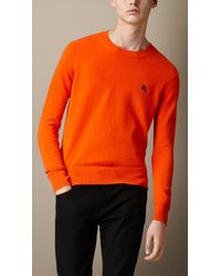 Burberry | Orange Heritage Detail Cashmere Sweater for Men | Lyst