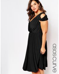 Asos Curve | Black Wedding Wrap Front Midi Dress | Lyst