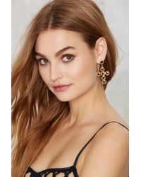 Nasty Gal - Black Cross Boss Beaded Earrings - Lyst